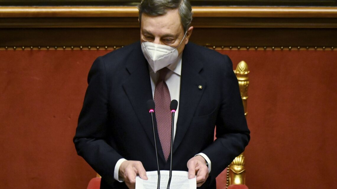 Italy's Draghi urges unity, sacrifice in fighting the virus