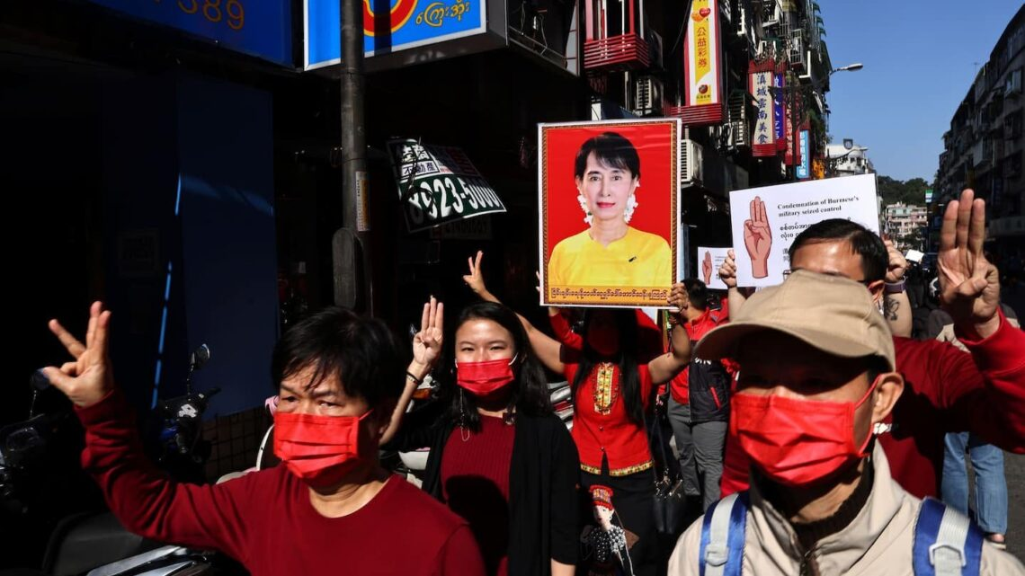 Myanmar blocks Internet amid first large street protests since coup