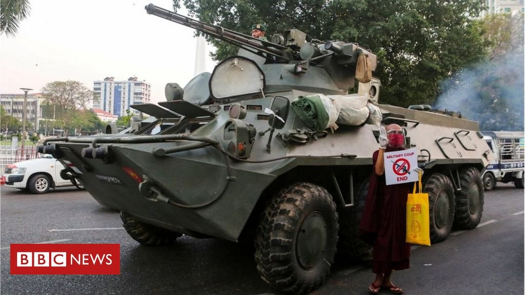 Myanmar coup: Troops on the streets as internet cut off